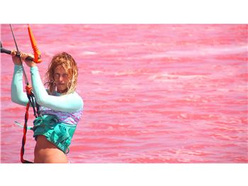 Kiteboarding on a Bright Pink Lagoon - Kea Janssen - Kitesurfing News